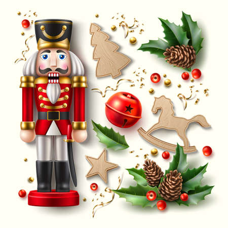 Vector christmas symbol realistic set nutcracker a Illustration