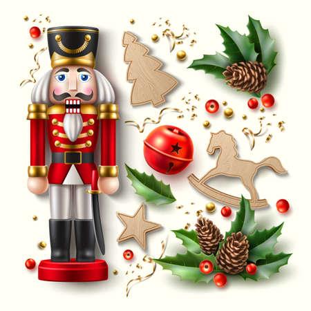 Vector christmas symbol realistic set nutcracker a Иллюстрация
