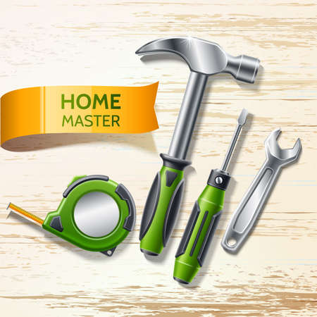 Vector realistic repair and renovation tool 3d set