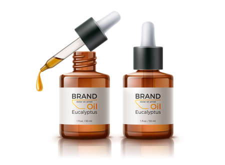 Vector 3d herbal oil pipette skin care bottle