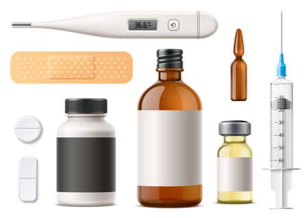 Vector 3d pills, syringe, ampoule, patch, capsule Иллюстрация
