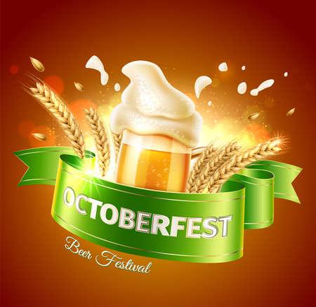 Vector oktoberfest ad poster realistic beer glass Иллюстрация
