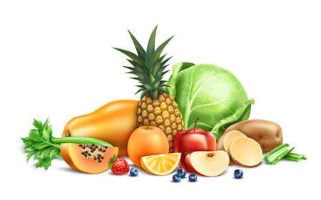 Vector healthy food, organic fruit and berries Illustration