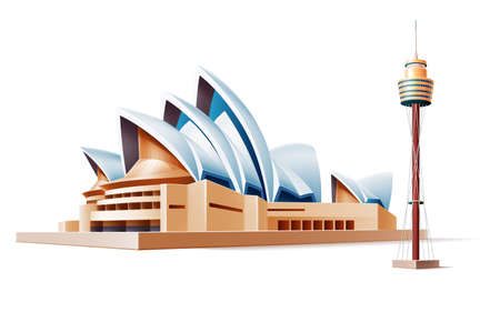 Vector australia landmark sidney theater tower 3d Illustration