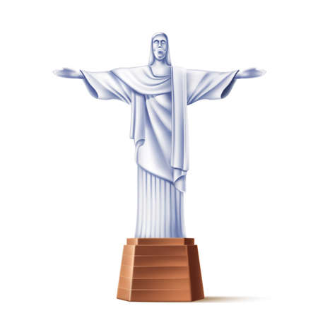 Vector realistic christ redeemer statue of rio