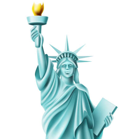 Vector statue of liberty monument in america