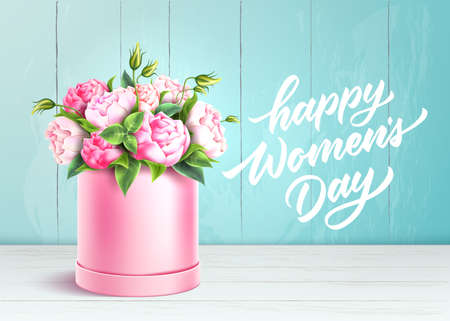 Vector rose flower box happy women day wooden wall