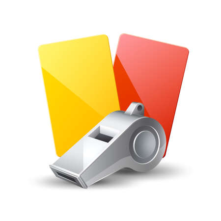 Vector realistic referee whistle red yellow cards