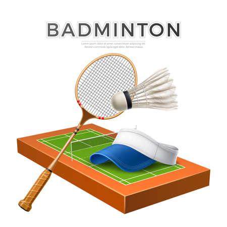 Vector 3d badminton shuttlecock white mock up Illustration