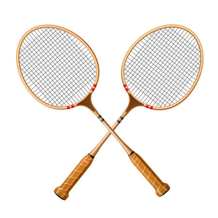 Vector realistic crossed racquet 3d icon for sport