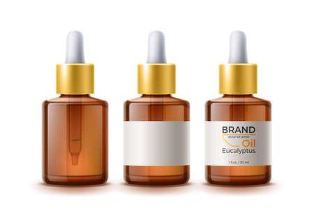 3d herbal oil pipette skin care bottle
