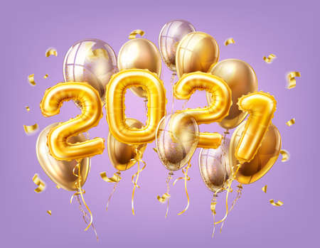Realistic 2021 gold air balloons confetti new year Stock Photo