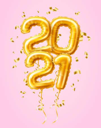 Realistic 2021 gold air balloons confetti new year Иллюстрация