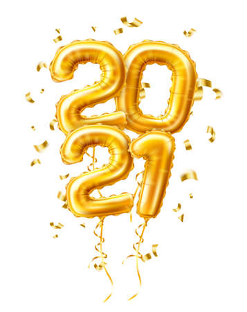 Realistic 2021 gold air balloons confetti new year Illustration