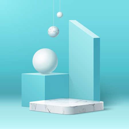Vector realistic marble podium and geometric shape Illustration