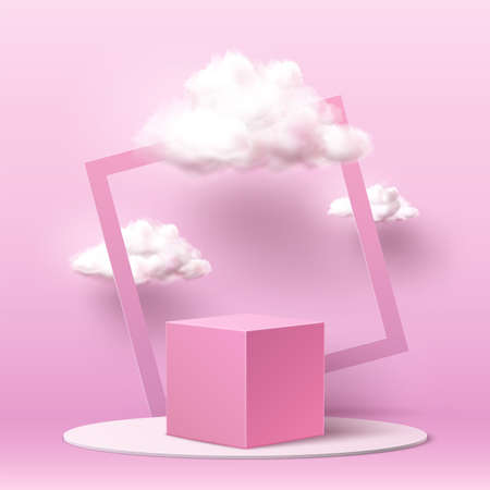 Vector realistic pink square podium with clouds Illustration