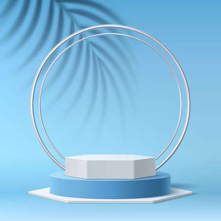 Vector realistic round podium 3d tropical leaves