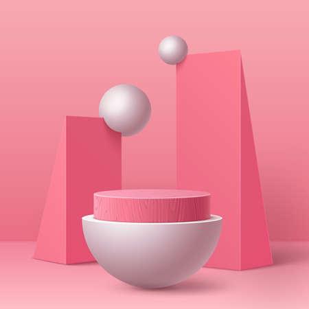 Vector realistic pink round podium geometric shape Illustration