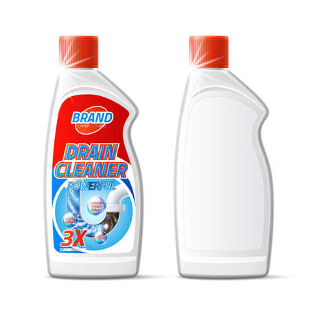 Vector silver drain pipe cleaner bottle product