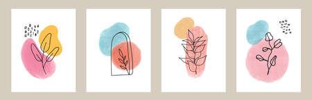 Vector florals line art sketch foliage set