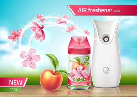 Vector realistic air freshener spray ad mock up