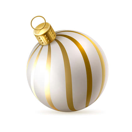 Vector christmas tree toy golden white ball