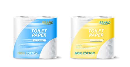 Vector realistic toilet paper roll package mockup Иллюстрация