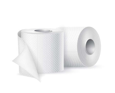 Vector realistic toilet paper roll white blank
