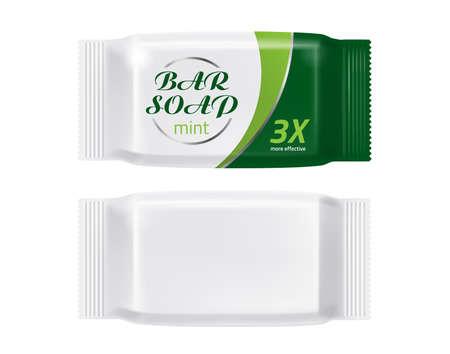 Vector realistic soap bar package mockup branding