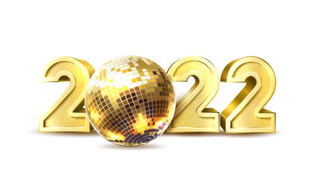 Vector 2020 new year party disco ball poster