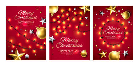 Merry christmas and happy new year poster set