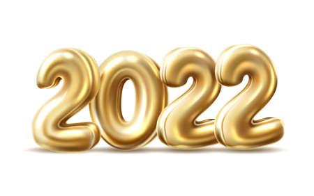 vector 2022 golden balloon numbers for new year