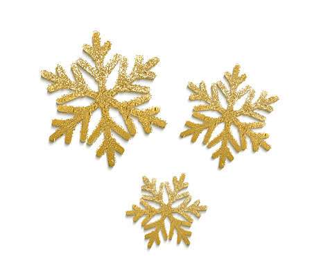 Vector realistic golden snowflakes with glitter a
