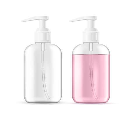 Vector realistic liquid soap, foam lotion bottle