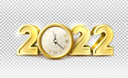 Vector 2022 new year holiday number with clock Иллюстрация
