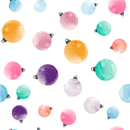 Cute different colorful decorative watercolor Christmas balls seamless pattern.  It can be used as wallpaper, desktop, printing, wrapping, fabric or background for your blog, covers and your design.
