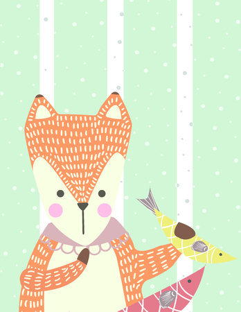 Hand drawn funny, cute fox with fish in Scandinavian style. Childish print for kids apparel, poster, postcard, stickers, cover. Vector Illustration