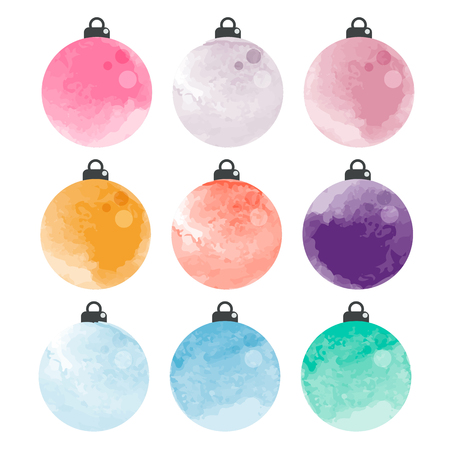 Set of decorative watercolor Christmas balls isolated on white background, illustration.