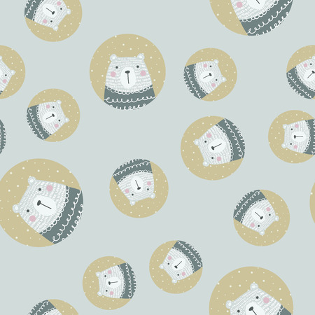Scandinavian seamless pattern with polar bear. Finnish design, Nordic style. It can be used as wallpaper, desktop, printing, wrapping, fabric or background for your blog, covers and your design.  イラスト・ベクター素材