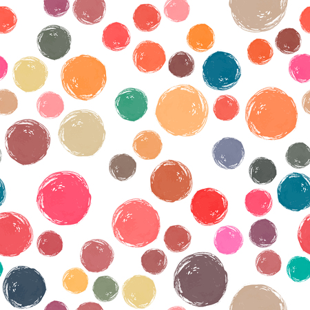 Vector watercolor circles seamless pattern. Different watercolor colors. It can be used as wallpaper, desktop, printing, wrapping, fabric or background for your blog, covers and your design. Illustration