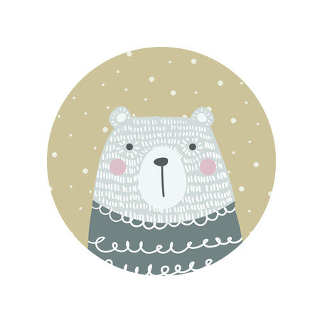 Hand drawn funny, cute polar  bear in Scandinavian,  Nordic style. Childish print for kids apparel, poster, postcard, stickers, cover. Vector Illustration.