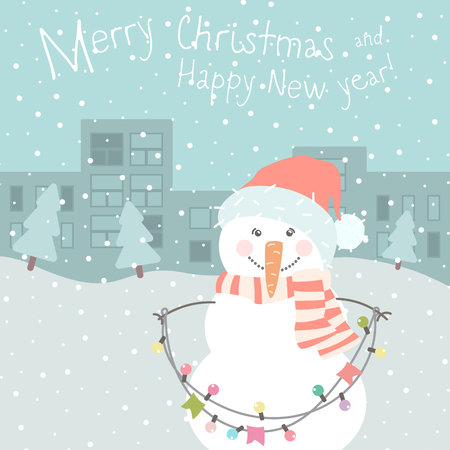 Winter card with cartoon cute snowman with a multi-colored garland in pastel colors. Funny  snowman in childish style. Perfect for winter invitations, New Year greeting cards. Illustration