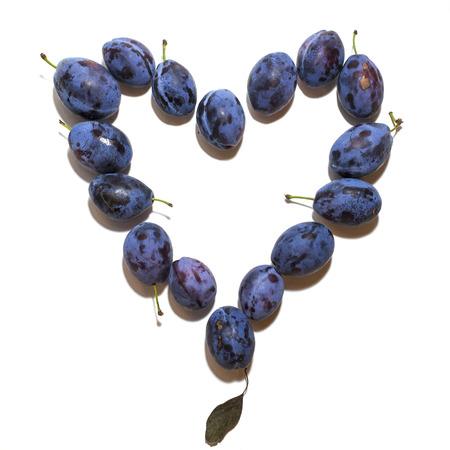 Blue, purple ripe plums on white background. Reklamní fotografie