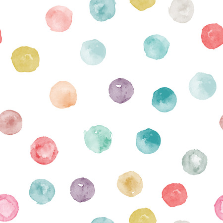 Vector watercolor circles seamless pattern (tiled). Retro hand drawn circles ornament. Round shapes pattern. Round shapes. Painted ornament. Grunge colorful rounds shapes. Illustration