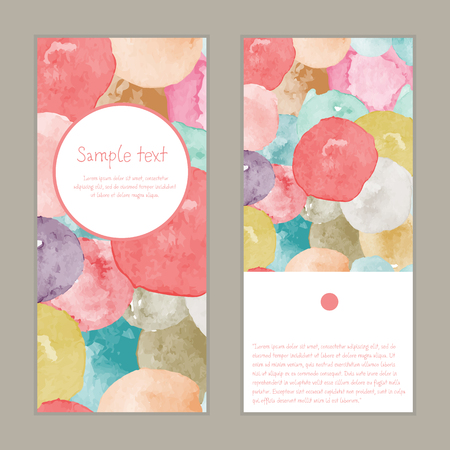 A Vector watercolor splashes vertical round frame pattern invitation greeting cards set for wedding,