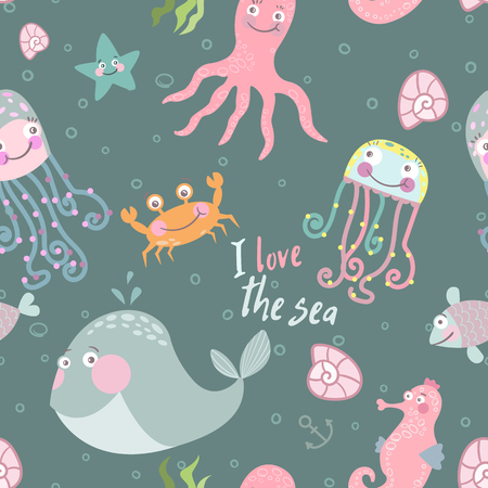 Cute monsters of the deep. Vector illustration of sea animals. Cartoon seamless pattern on a blue background.