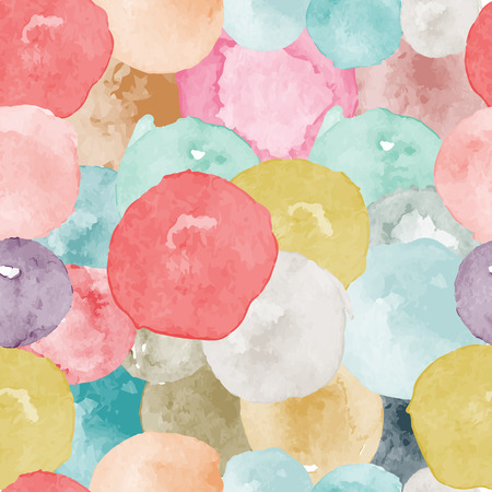 A Vector watercolor circles seamless pattern (tiled). Retro hand drawn circles ornament.