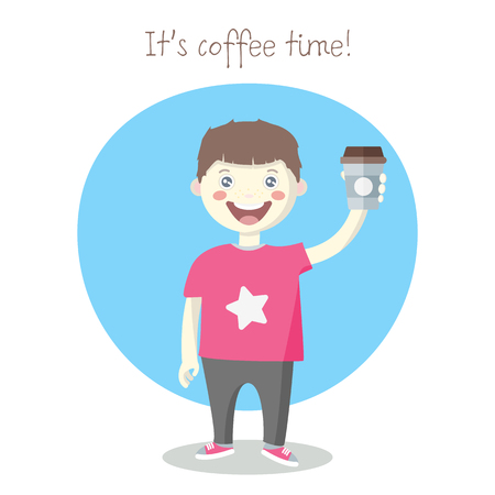 Vector cheerful little boy with paper coffee cup, cartoon vector flat style illustration isolated on white background. Happy brown haired boy in pants and t-shirt. Its coffee time.