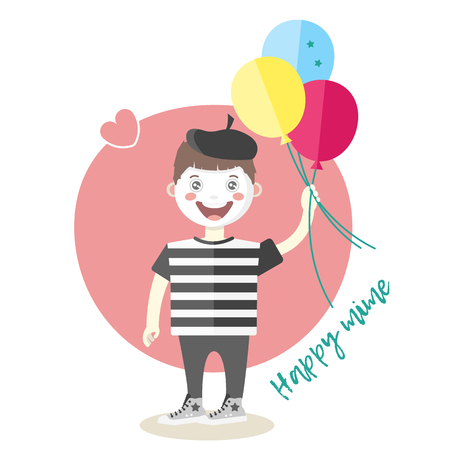 Little cheerful mime artist with balloons, cartoon vector flat style illustration isolated on white background. French boy, mime, symbol of France Illustration
