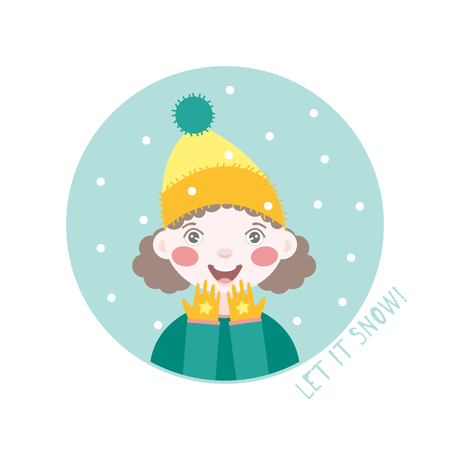 Portrait of young female character in a yellow knitted hat and in a yellow gloves. Flat style illustration isolated on white background. Clip art. Winter card.